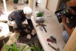 坪庭を施す庭師さんの撮影
