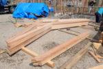 建て方工事 搬入された化粧梁