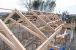 建て方工事 化粧梁の様子