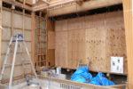 増築部分 建て方工事 既存部分仮囲い