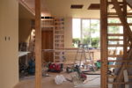 増築部分 壁下地ボード張り工事
