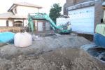 地盤改良工事 固化材撹拌敷均し