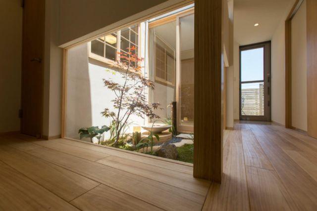廊下から観る坪庭