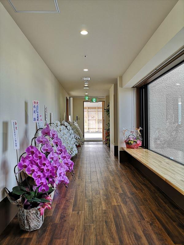 通路から見た玄関方向 壁沿いに開設祝の花々