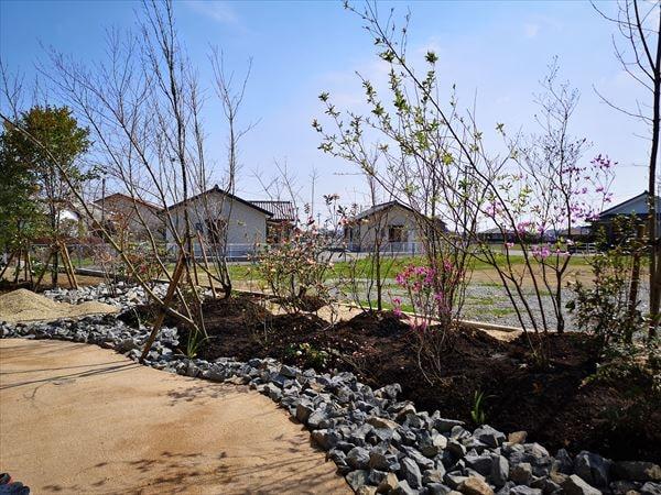 大小の木立の植木が施された雑木林の庭