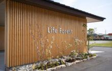 エントランス木製格子壁 施設名Life Forest サイン表示 足元に植栽コーナー