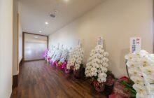 玄関から通いスペースへ向かう通路内観 開設祝の贈呈花が複数飾られる